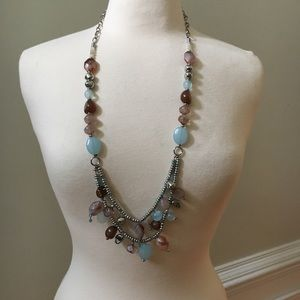 Chico's Blue Brown Silver Chunky Long Necklace